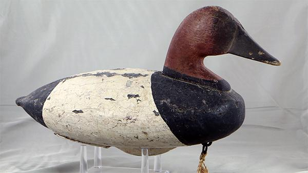 "The so called ""Cleveland Canvasback"" drake, circa 1880. Wooden wing duck below, circa 1880."