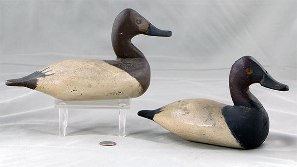Will Heverin miniature Canvasback pair in original paint, circa 1925.